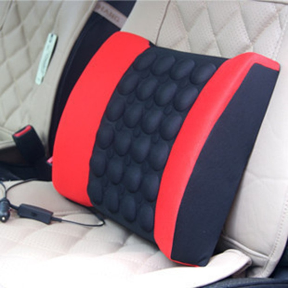 Car Lumbar Pillow with Massager to Support Waist Made with Cotton Fabric and Foam 8