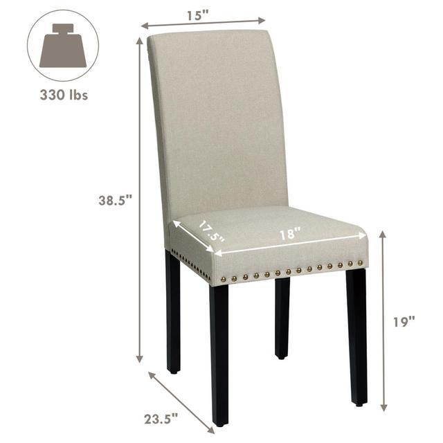 2 Fabric Dining Chairs w/ Nailhead Trim 2