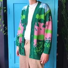 Veste de GOLF WANG Lanscape pour homme et femme, Cardigan en tricot, Streetwear, couleur verte, collection automne/hiver