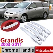 Для Mitsubishi Grandis 2003~ 2011 хромированные дверные ручки крышки наклейки на автомобиль отделка комплект 2004 2005 2006 2007 2008 2009 2010