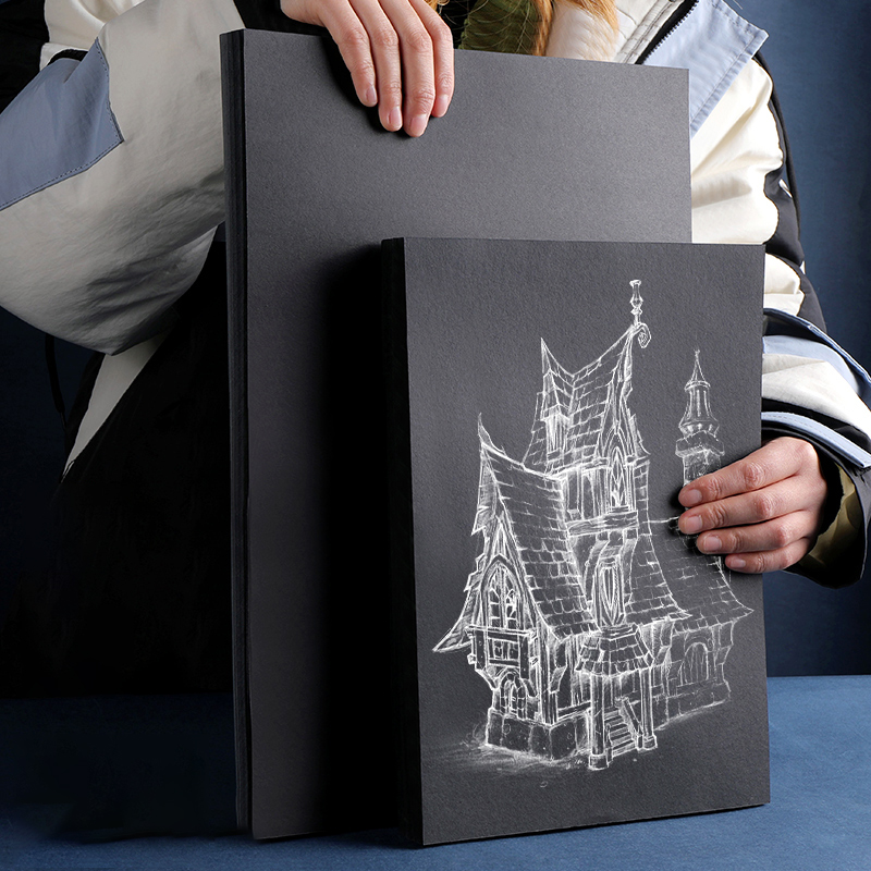 А4 черная крафт-бумага, высококачественная бумага для рисования, плотный картон, картон, сделай сам, ручная работа, рисование, эскиз