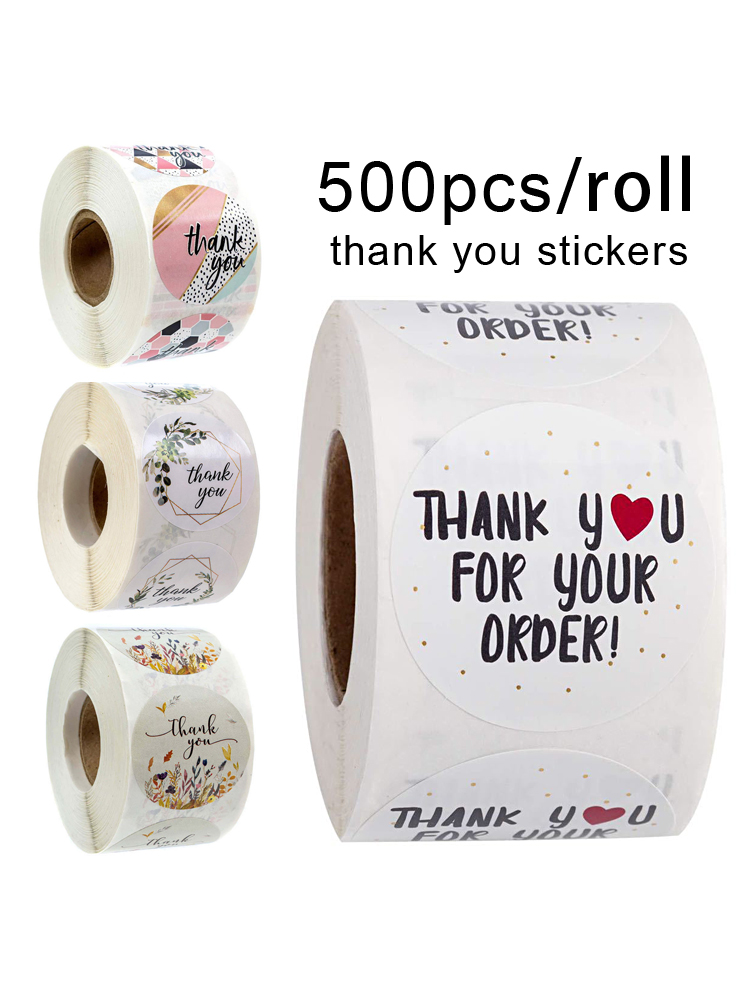 Stickers Handmade Labels Stationery Your-Order-Gift-Seal Thank-You 500pcs/roll