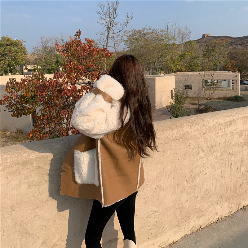 Winter Women High Quality Fur Coat Loose Collar Design Integrated Long Splicing Single-breasted Cotton-padded Pocket Jackets