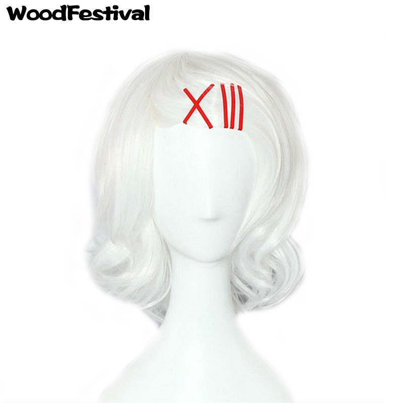 WoodFestival High Temperature Fiber Cos Short White Wig Cosplay Heat Resistant Synthetic Wigs With Bangs Wavy