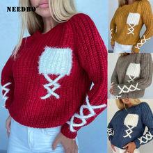 Модный новый вязаный свитер для женщин оверсайз пуловер пэчворк