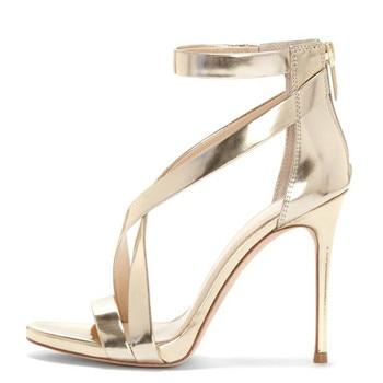 YECHNE Plus Size 33-43 11 CM High Hooks Sandals Party Deep Sexy Silver Summer Pumps Women Golden Bride Sandals