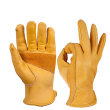 Leather Riding Gloves Full Finger Outdoor Motorcycle Gardening Work Retro C100