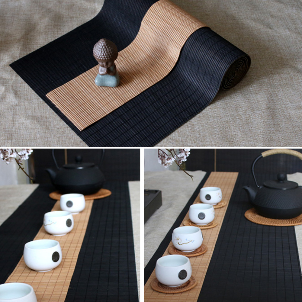 Japanese-style Table Runner Bamboo Coffee Table  Flag Modern Home Living Room Handmade Bamboo Curtain