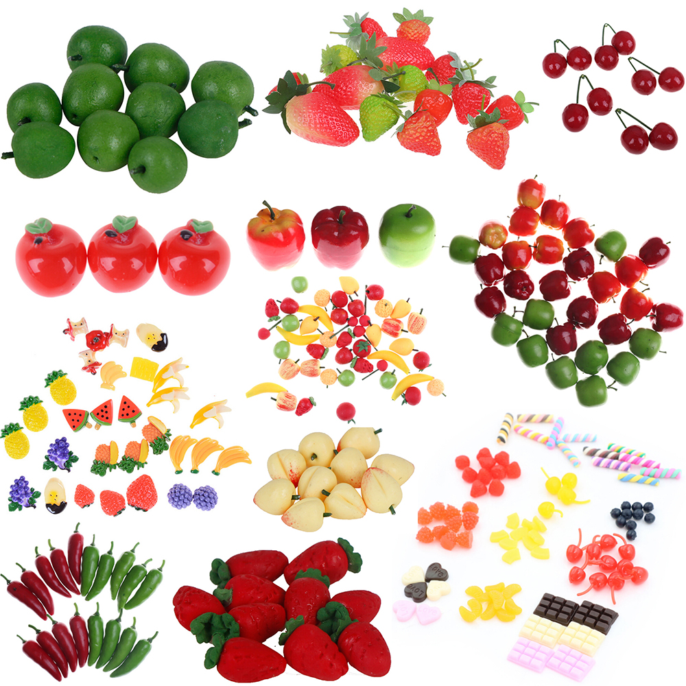 Multi Style Simulation Polymer Clay 1:12 Dollhouse Miniature Fruits Food Kitchen Restaurant Living Room Decoration Children Toys