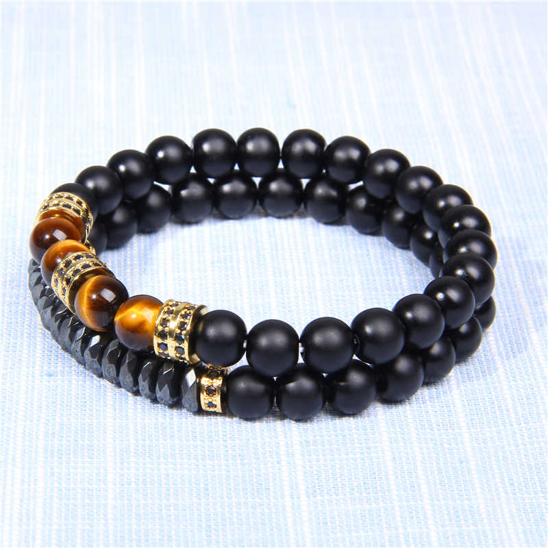 Natural Stone Bracelet Obsidian Men Braslet Beads Fatima Hand Bracelets for Women Men Elastic Couple Bracelet Femme Jewelry