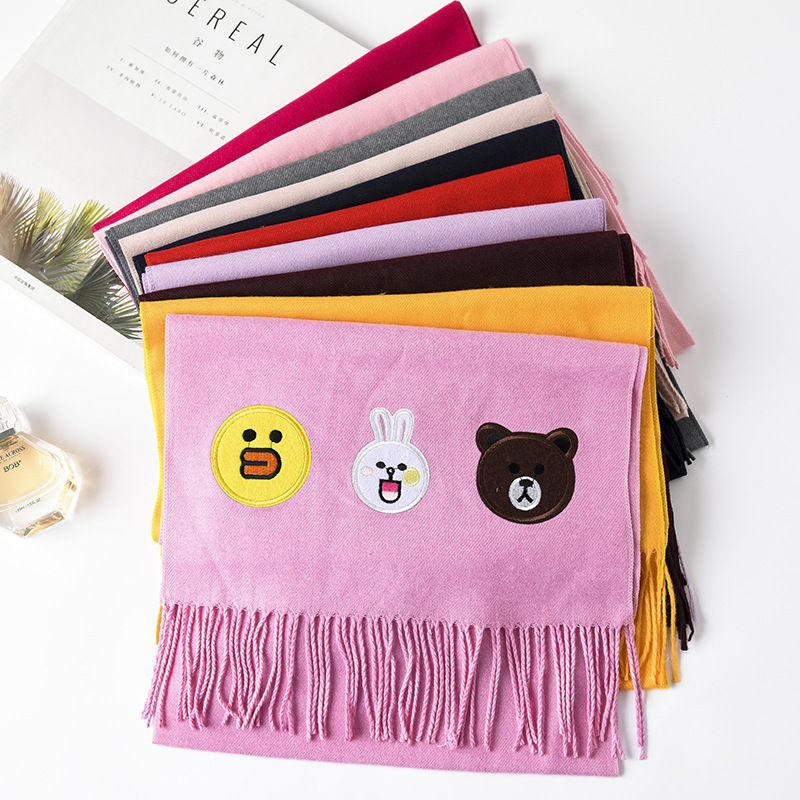 Cartoon Long Thick Warm Men And Women Versatile Parent And Child Shawl Autumn And Winter Faux Cashmere CHILDREN'S Scarf