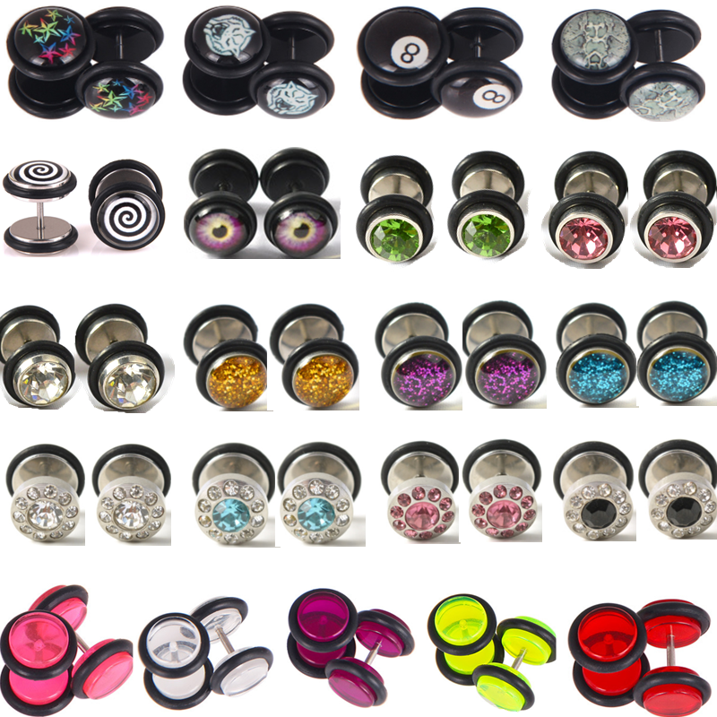 1Pair Cheater Plugs <font><b>Fake</b></font> <font><b>Ear</b></font> <font><b>Tunnel</b></font> Faux <font><b>Ear</b></font> Piercing Gauges Earring Falso Stretches Expander Faux Piercing Oreille Punk Jewelry image