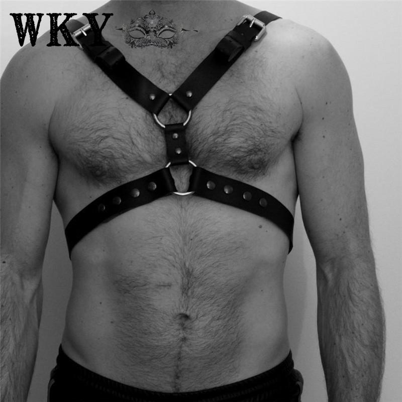 Sexy Men Harness Straps Leather Adjustable Belt Body Chest Harness Bondage Cage Night Club Cosplay Rivet Belt Restraint Harness