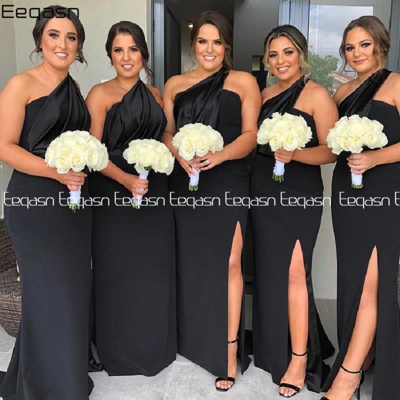 Eeqasn Black Satin Mermaid Bridesmaid Dresses African Maid Of Honor Dress Side Slit Wedding Guest Gown Plus Size