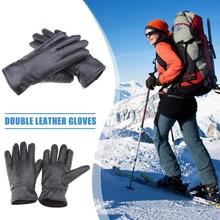 Winter Gloves Men Leather Motorcycle Fleece Touch Screen Driving Thickened Warm Mittens New
