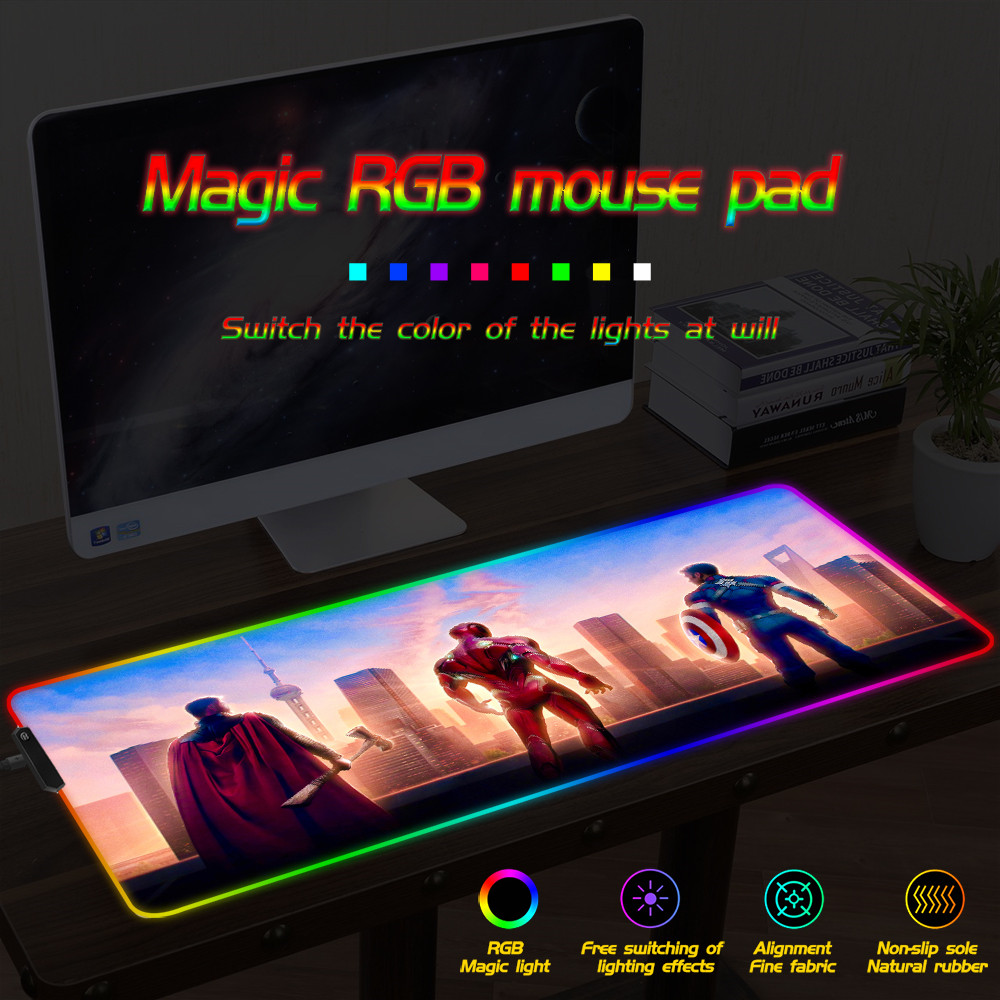 FFFAS Iron Man <font><b>Mousepad</b></font> <font><b>Large</b></font> Computer Mouse Mat <font><b>Large</b></font> LED Gaming Mouse Pad Night RGB USB Wired Lighting for CSGO Dota image