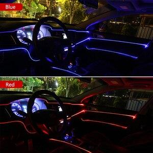 Car Interior Cold Line Flexible Trim Ambient Lights For Toyota Logo Prius RAV4 Badge Camry Corolla Yaris Prado car accessories(China)