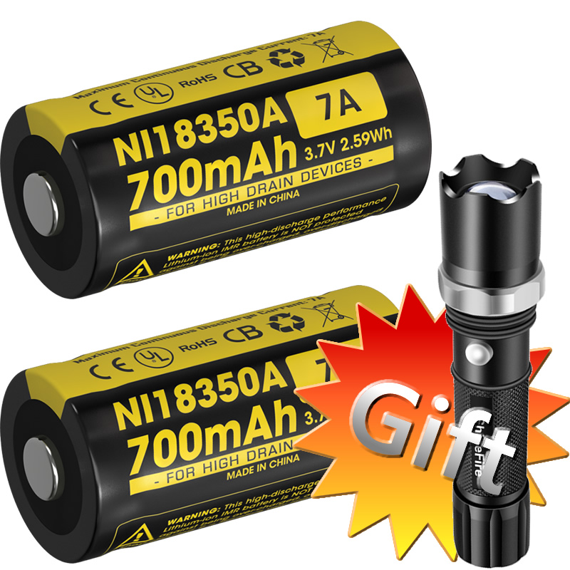 Wholesale <font><b>NITECORE</b></font> 2 Pieces IMR18350 Rechargeable Li-ion <font><b>Battery</b></font> + Gift Flashlight 700mAh RCR123A <font><b>16340</b></font> High Drain Devices torch image