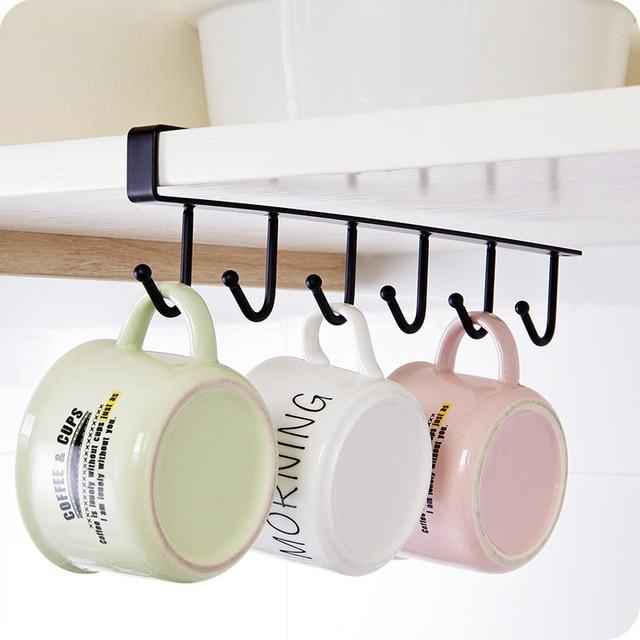 Multifunctiona 6 Hooks Cup Holder Hang Kitchen Cabinet Storage Rack Organiser Hook Creative Kitchen Nail-free Traceless Hooks 6