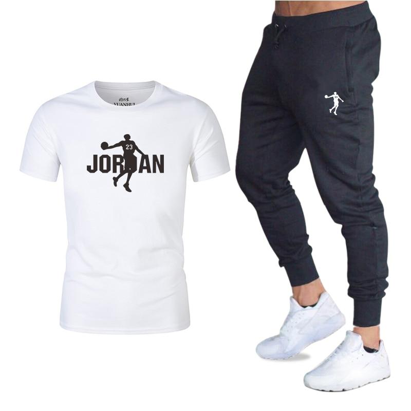 2020 Summer Men's Printed Short-sleeved Sportswear Casual Trousers Suit Men's Trousers Sports Suit T-shirt + Trousers 2-piece Se