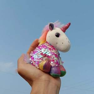 Plush-Keychain Birthday-Gift Dolls Unicorn Soft Toys Girls 12cm with Sequin for Bag-Pendant