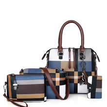 Composite Bags Luxury Handbags Women plaid 2019 tassel Purses and Set 4 Pcs/set Female Bolsa Feminina