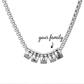 цена Personalized Silver Plated Stainless Steel Beads Necklace Engrave Family Lovers Name Sliding Pendant Chain Family Jewelry Gifts онлайн в 2017 году