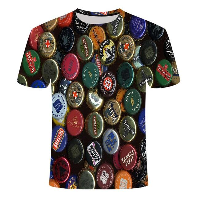 Funny men's short sleeve beer Clock 3D T-shirt, round neck large digital printed 6