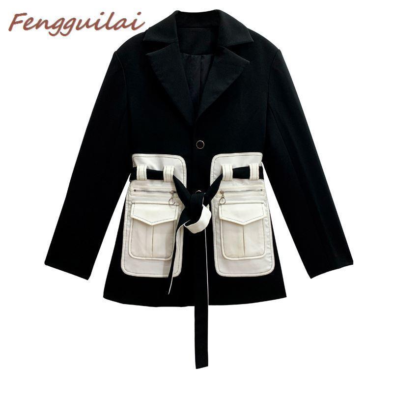 FENGGUILAI Autumn Winter Woman Blazer Jacket  New Design Black-and-white Chic Long Suit Female Casual Coat Long Suit Jacket