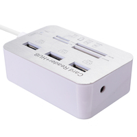 portable aluminum New Aluminum Portable USB 3.0 3 Port Hub With MS SD M2 TF Multi-In-1 Card Reader For All in One PC Computer Accessories (4)