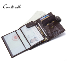 CONTACTS Leather Wallet Luxury Male Genuine Leather Wallets Men Hasp Purse With Passcard Pocket and Card Holder High Quality