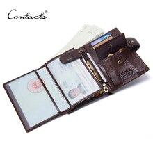 Contacto Carpeta de cuero de lujo Cuero auténtico Carteras hombres del cerrojo con passcard bolsillo y titular de la tarjeta de alta calidad