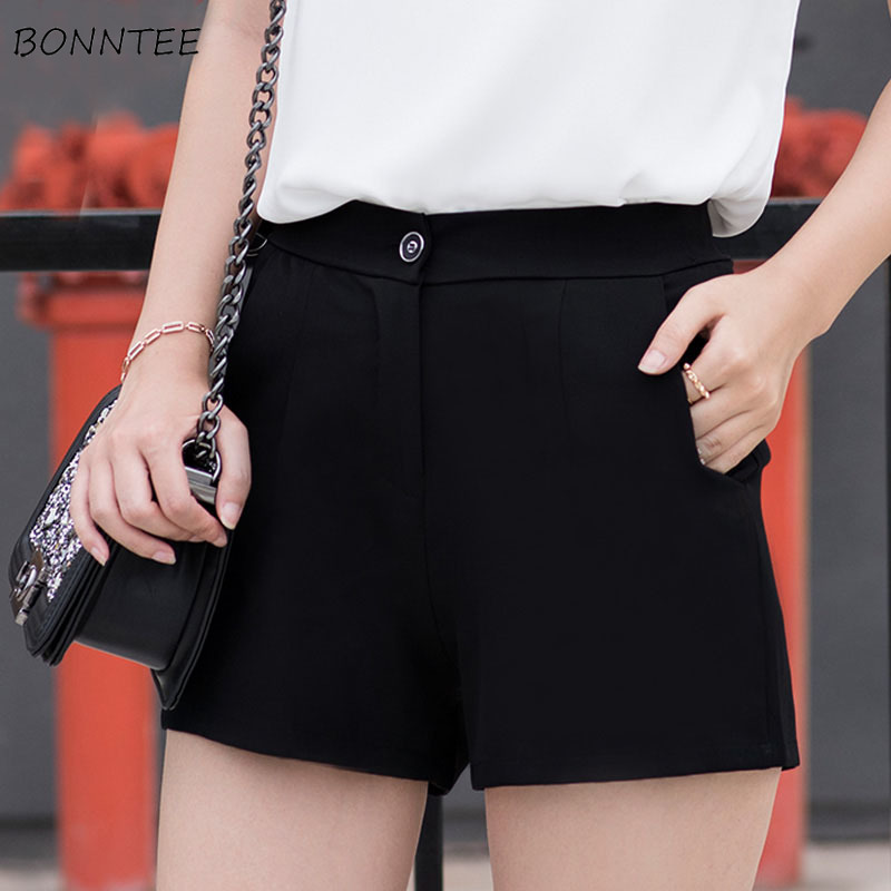 Shorts Women Solid Simple Loose Korean Style Summer Casual Womens All-match Pockets Zipper Female High Quality Lovely Breathable