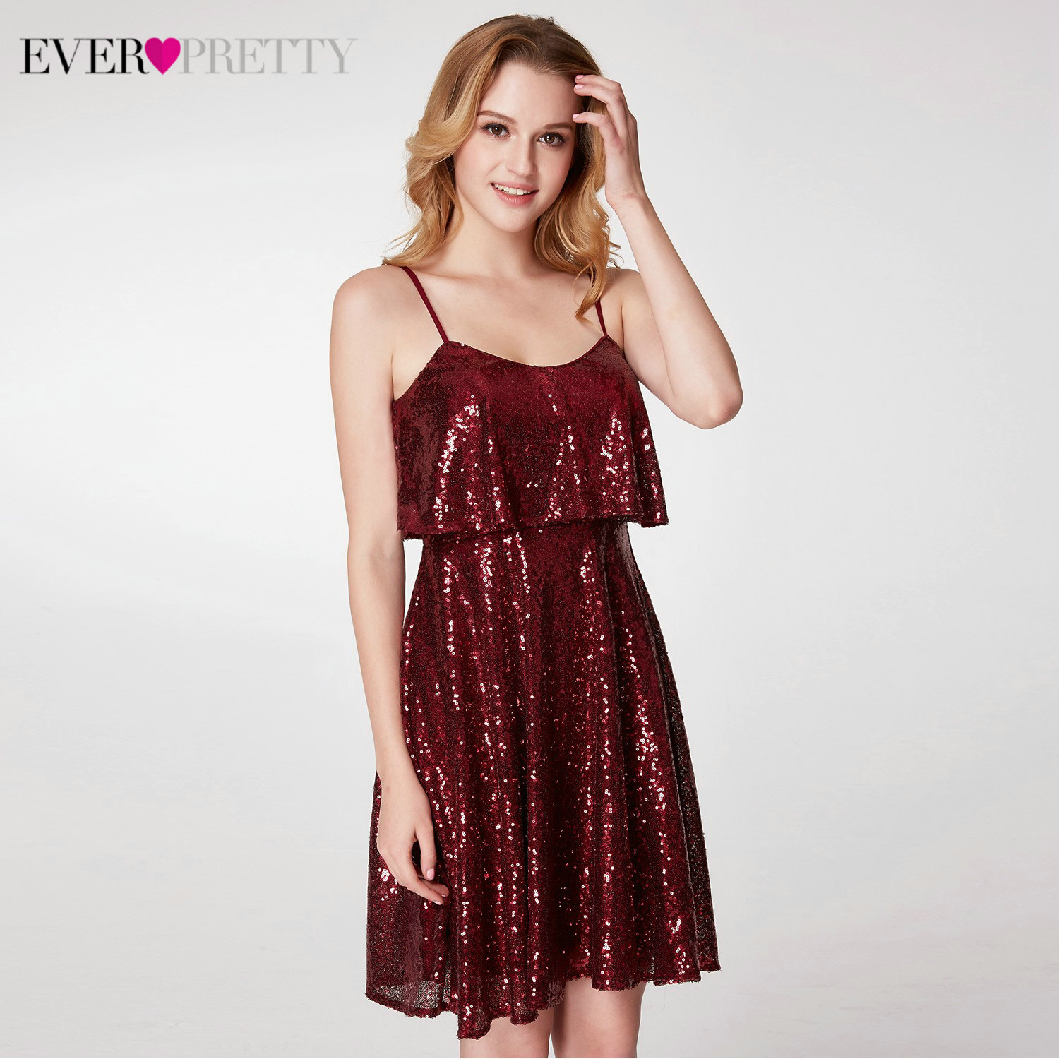 Sparkle Cocktail Dresses Ever Pretty EP04054 A-Line Ruffles V-Neck Spaghetti Straps Sequined Short Party Dresses Vestido Coctel