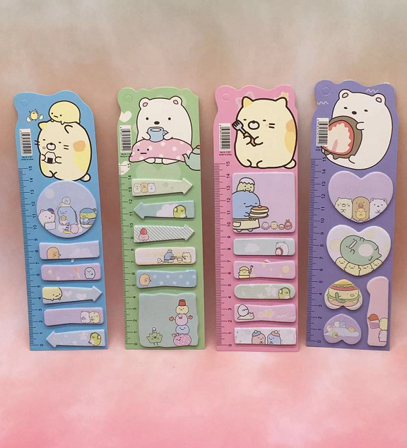 Sumikko Gurashi With Ruler Creative Cartoon Desktop Memo Pad Sticky Notes Escolar Papelaria School Supply Bookmark Label