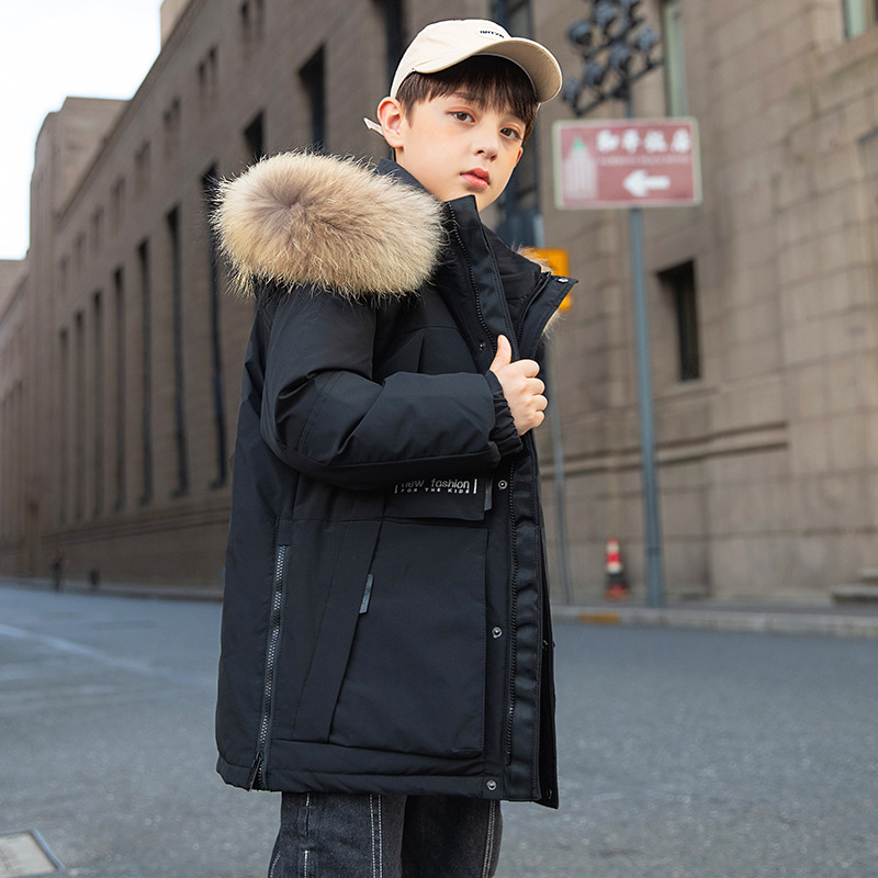 casaco longo e quente infantil com gola 04
