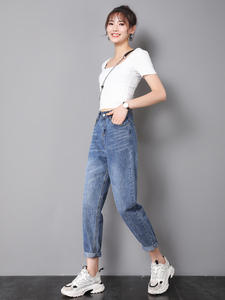 Zsrs Mom Jeans Pants Boyfriend Push-Up High-Waist Large-Size Denim Woman for with Ladies