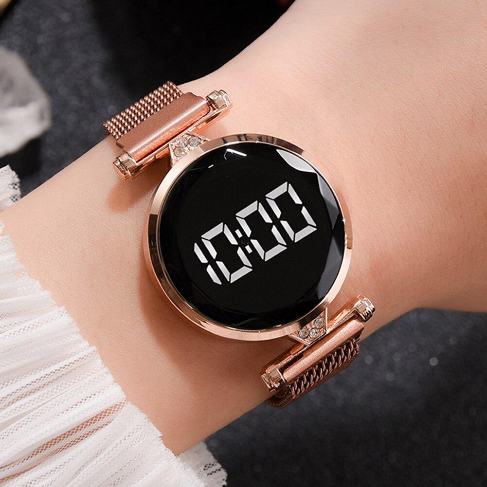 נשים קוורץ שעוני יד תכשיטי אופנה רשת רצועת LED הדיגיטלי אלקטרוני שעון חדש רצועת שעון אנלוגי שעון יד