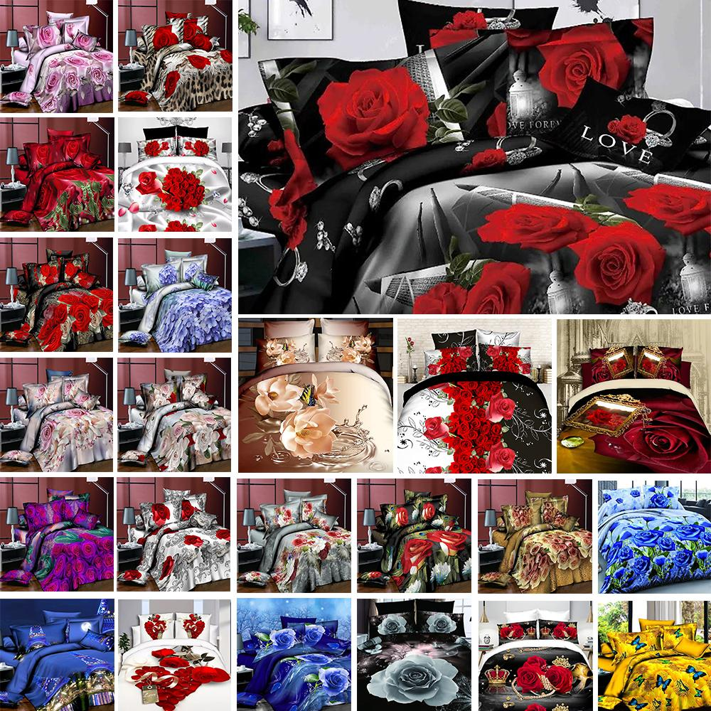 2020 New Luxury Bedding Set Flower3/4PCS Rose Print Luxury Bed Linen For Duvet Cover Pillowcase Bedclothes Room Decoration