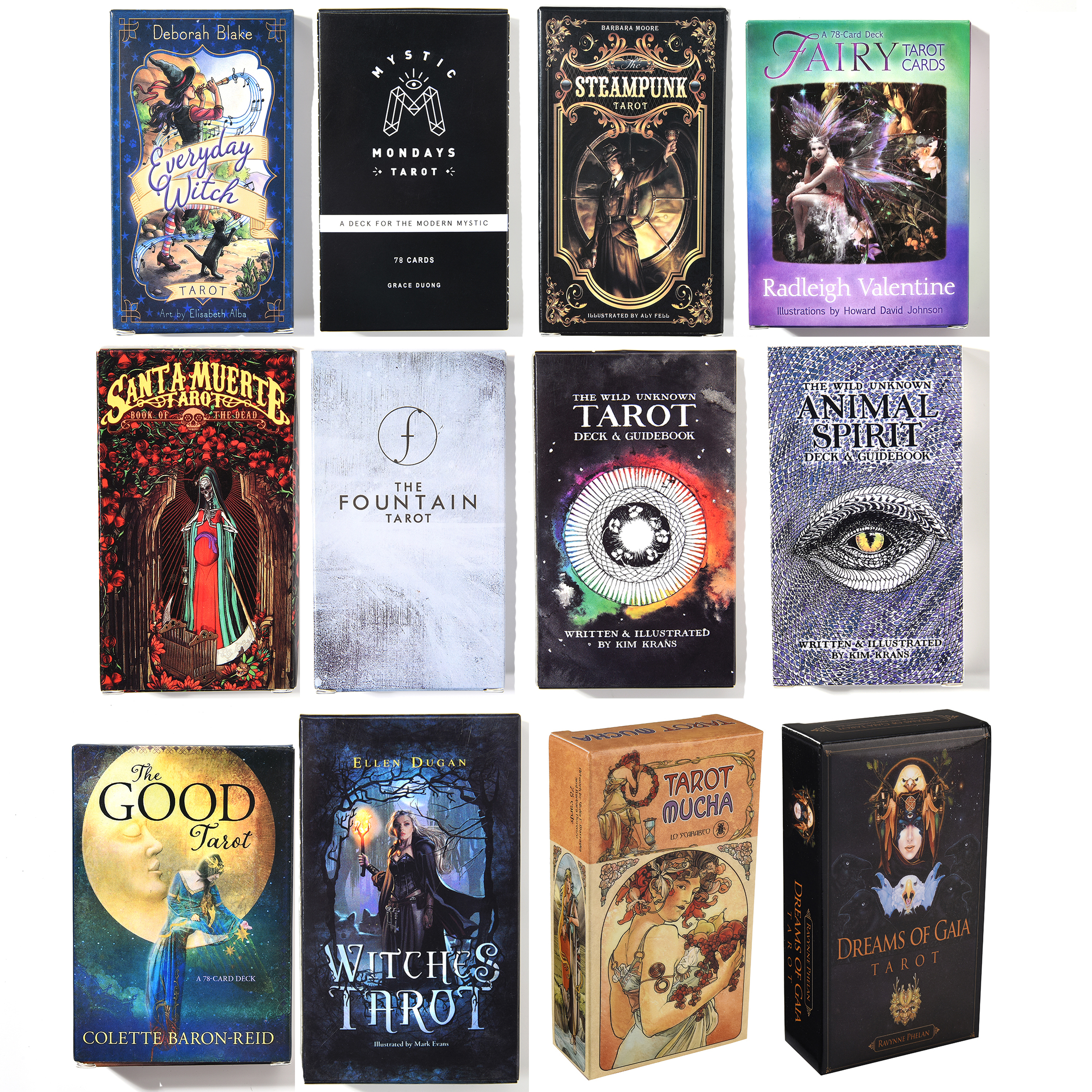 Everyday Witch Mystic Mondays Tarot Steampunk Fairy Good Animal Spirit Deck Fountain Santa Muerte Witches Mucha Card Game