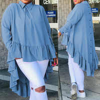 Celmia Blusa de manga larga S-5XL de gran tamaño, informal, solapas, camisas largas, volantes, dobladillo, botón trasero, blusa holgada, Blusas elegantes para mujer