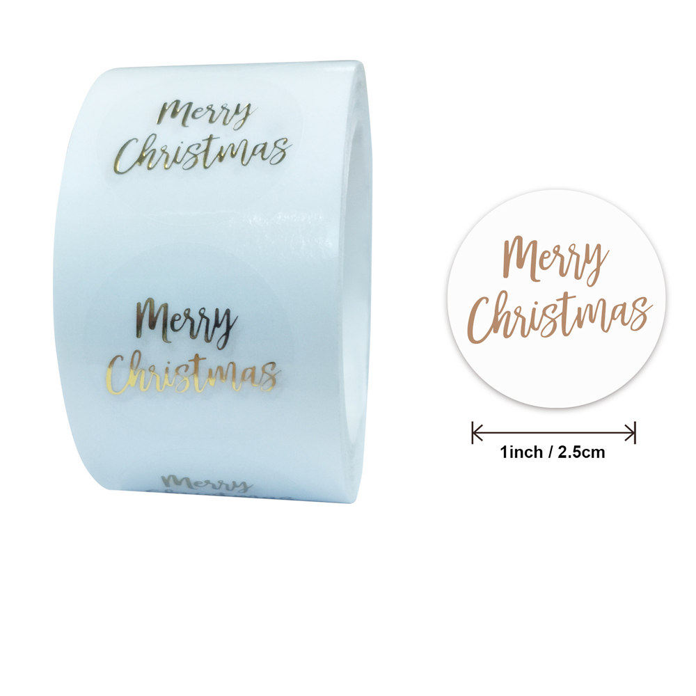 100-500pcs Round Clear Merry Christmas Stickers Thank You Card Box Package Label Sealing Stickers Wedding Decor Stationery 3
