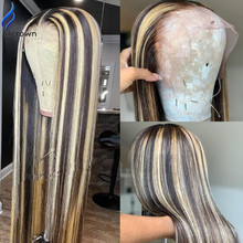 ALICROWN Straight Ombre Color Lace Front Human Hair Wigs Highlight Brazilian Remy Hair Lace Wigs 180% Density Bleached Knots