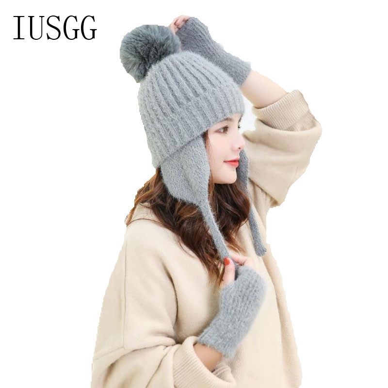 2pcs Cap&Gloves Set Crochet Knit Warm PomPoms Hats Plush Thick Beanie Wool Ball Wear Accessories Collar Cap Half-Finger Gloves