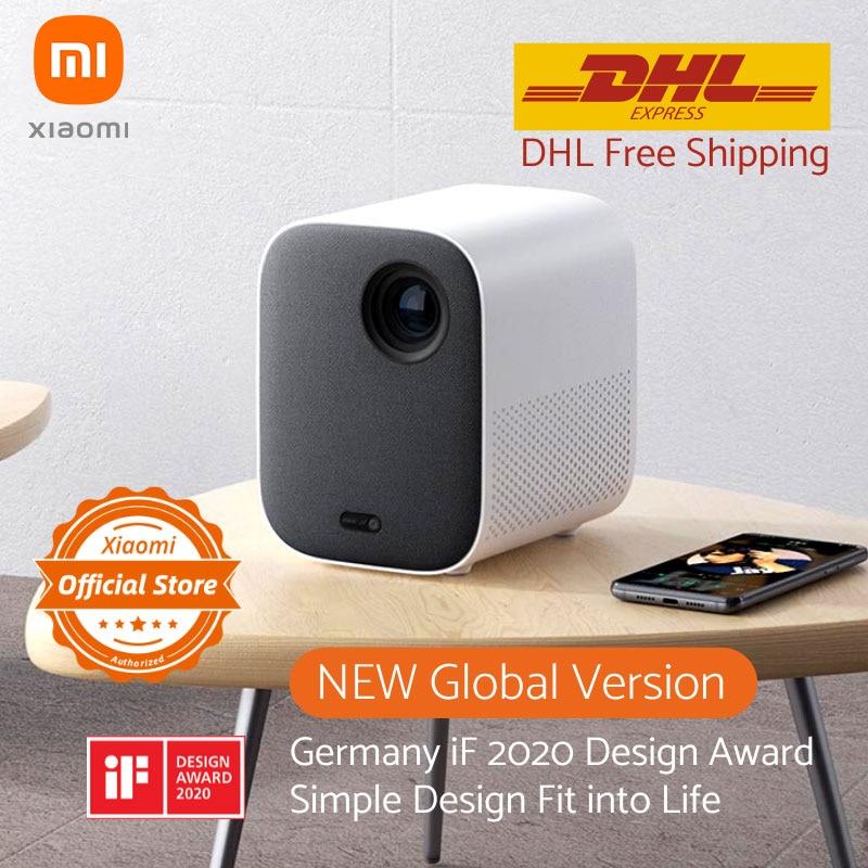 """Versão global xiaomi mijia projetor mini 120 """"hd completo 1080 p dlp 500ans dolby áudio android 9.0 mi conteúdo de tv dhl frete grátis-0"""