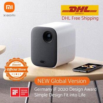 """Versão global xiaomi mijia projetor mini 120 """"hd completo 1080 p dlp 500ans dolby áudio android 9.0 mi conteúdo de tv dhl frete grátis"""