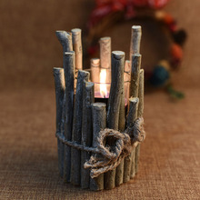 New Year Rustic And Romantic Wooden Delicate Christmas Vintage Candle Holder for DIY Party Wedding Home Decor Craft