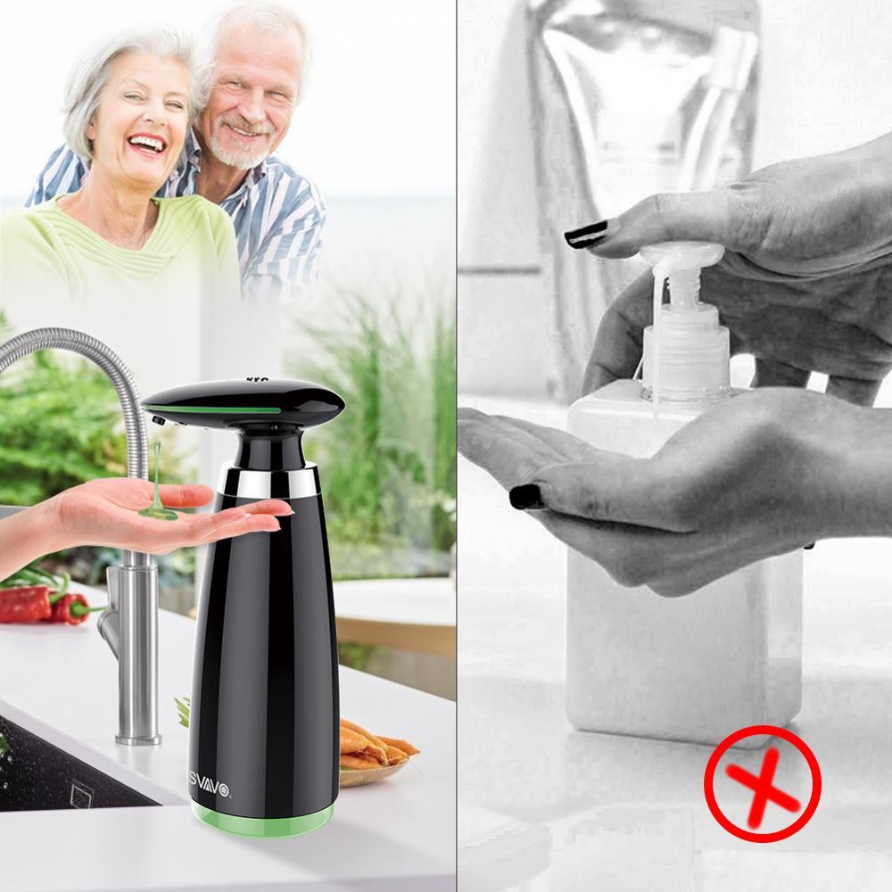 SVAVO 350ml Automatic Soap Dispenser Infrared Touchless Motion Bathroom Dispenser Smart Sensor Liquid Soap Dispenser for Kitchen 6