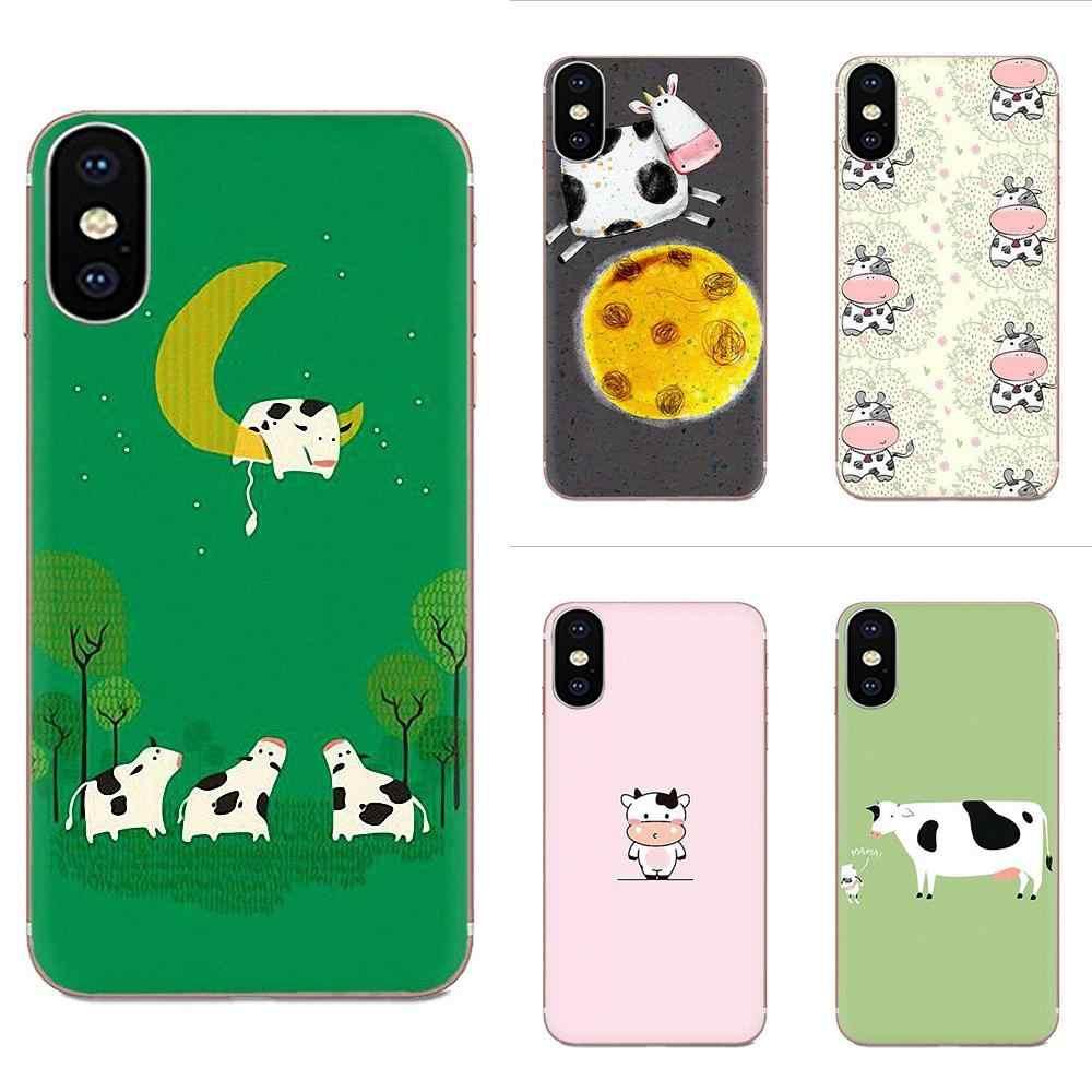 الفاخرة هاتف محمول حالات الحيوان الأبقار بقرة لطيف لسامسونج غالاكسي ملاحظة 5 8 9 S3 S4 S5 S6 S7 S8 s9 S10 5G البسيطة حافة زائد لايت