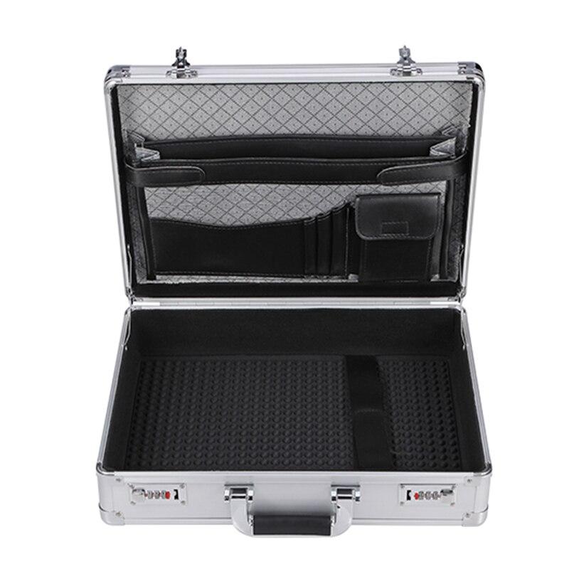 Mallette à outils en aluminium portable valise extérieure boîte à outils mot de passe boîte de fichier résistant aux chocs étui de sécurité 45x33x13cm
